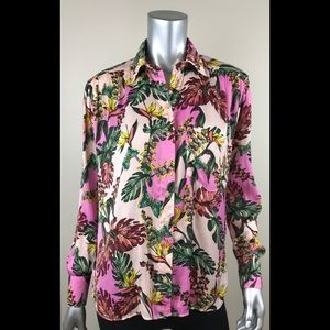 Free people shirt XS Pink floral butterflies
